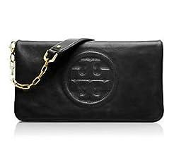 Tory Burch Bombe Reva Leather Clutch Black