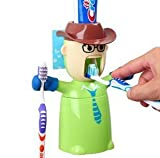 EVANA 3 in 1 Love s Warriors Toothbrush Holders,automatic Toothpaste Dispenser and Brushing Cup Set,novel Amazing Birthday s Gifts for Kids and Your Best Friends - Cowboy (Green)