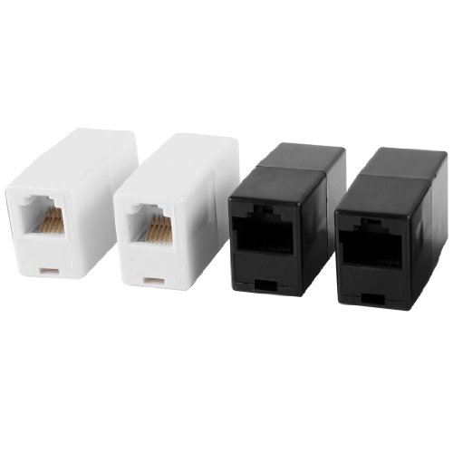 2 Pcs White Rj11 6P6C Telephone Cable Coupler + 2 Pcs Black Rj45 8P8C Ethernet Connector