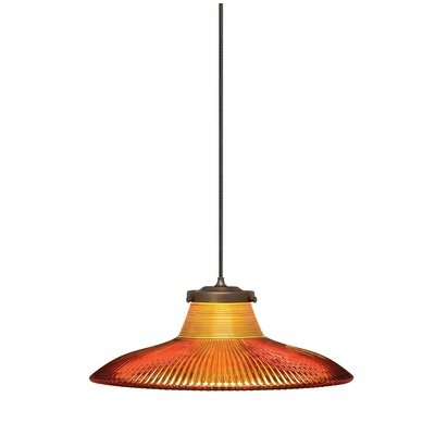 Wilmette Lighting 600MODBNCN Dearborn Collection 1LT 12V MonoRail Pendant, Polished Nickel Finish with Flared Holophane Glass