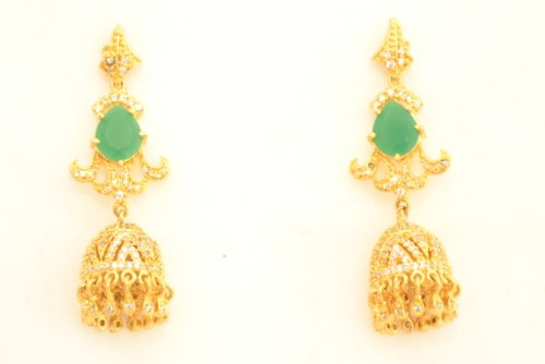 Fashion Balika Fashion Jewelry Gold-Plated Dangle & Drop Earring For Women Green-BFJER084 (Yellow)
