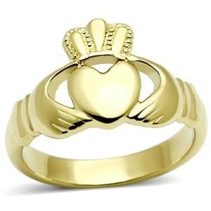 Women's Stainless Steel Ip Gold Plated Irish Celtic Claddagh Ring,Size:7 (Gold Claddagh Rings For Women compare prices)