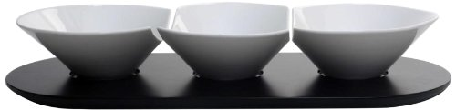 Housewares International 17-1/2-Inch 3 Bowls, White Porcelain Condiment and Appetizer Serving Dish