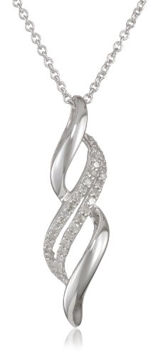 Sterling Silver Diamond Twist Pendant Necklace (1/10 Cttw, I-J Color, I2-I3 Clarity), 18