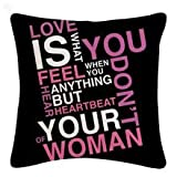 StyBuzz Cushion Cover - Love Quote Pink & Black