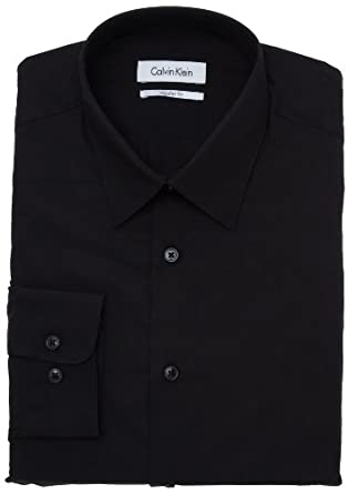 Calvin Klein Men's Poplin Dress Shirt, Black, 15 32/33