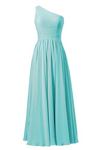 Daisyformals Vintage Floor Length One Shoulder Chiffon Bridesmaid Dress(Bm351L)- Tiffany Blue