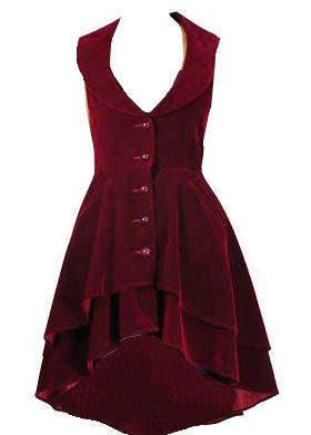 Wine Red - Velvet Tailored Flared Victorian Steampunk Gothic Dress Frock-Coat Waistcoat Sizes 24