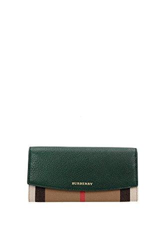 Portafogli Burberry Donna Tessuto Verde e Check Classico Burberry 3930579 Verde 10x19 cmEU