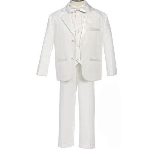 Size: M - Baby Tuxedo Boys Classic White Dinner Jacket Tuxedo With Vest (9 To 24 Months)