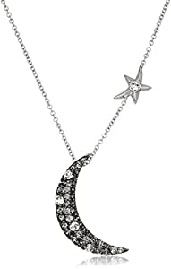 Sterling Silver Swarovski Clear Crystal and Black Diamond Crystal Crescent Moon Pendant Necklace, 18