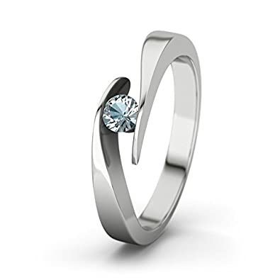 21DIAMONDS Summertime Aquamarine Brilliant Cut Women's Ring 14 Carat (585) White Gold Engagement Ring