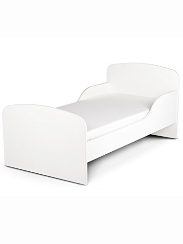 PriceRightHome Plain White Design MDF Toddler Bed no storage + Fully Sprung Mattress