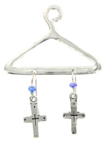 Cross Pewter Dangle Earrings on Decorative Hanger