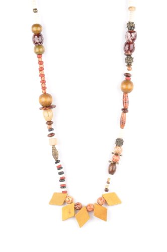 Long African Necklace in Neutral Tones with Hand Painted Elements