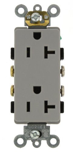 Leviton 16342-GY 20-Amp, 125-Volt, Decora Plus Duplex Receptacle, Straight Blade, Commercial Grade, Self Grounding, Gray (Commercial Outlet compare prices)