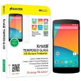 Amzer Kristal Tempered Glass Hd Screen Guard Scratch Protector Shield For Lg Nexus 5, Google Nexus 5 - Retail Packaging - Screen Coverage