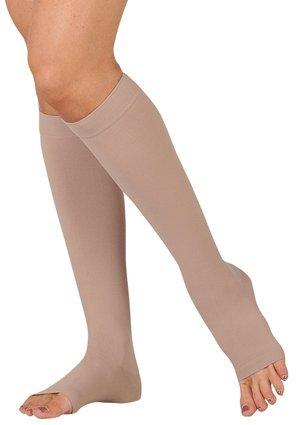 30-40 mmHg Juzo Dynamic (Varin) AD-N Compression Stockings. Knee High. Open Toe. Silicone Grip. 5cm,Size:II,Color:Black (Color: Black, Tamaño: II)