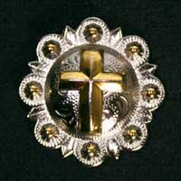 "Gold Cross Silver Conchos with Screw to Decorate Horse Tack - 1"" Lot of 10 At Wholesale Price"