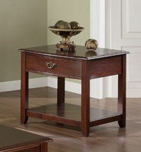 Cheap End Table with Drawers in Brown Cherry Finish (VF_F6219)