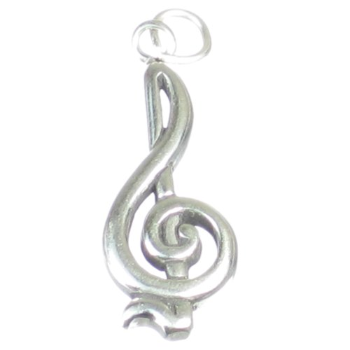 Treble Clef sterling silver charm pendant .925 x 1 Music Notes Charms SSLP1257
