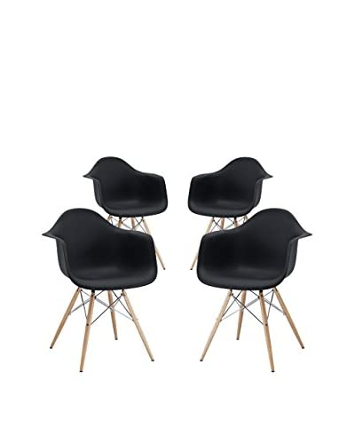 Modway Set of 4 Pyramid Dining Arm Chairs, Black