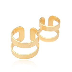 Brush Metal Two Set Above Knuckle Ring (Gold Plated)