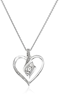 Sterling Silver Diamond Heart Pendant…