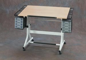 ALVIN® CraftMaster IITM Deluxe Art, Drawing, and Hobby Table White Base and Natrual Wood Top 28 x 40