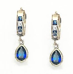 14ct Yellow Gold 7x5 mm Pear Clear and Blue CZ Earrings