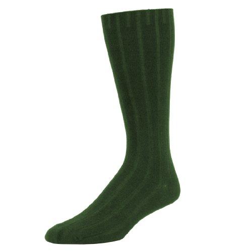 2 Brothers Dress Rib Organic Cotton Crew Sock (Olive - Large)