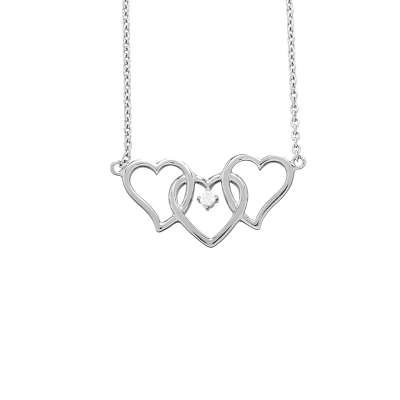 Classy 925 Sterling Silver Cable Chain Necklace with 3 Interlocking Hearts & Round CZ Center Pendant(WoW !With Purchase Over $50 Receive A Marcrame Bracelet Free)