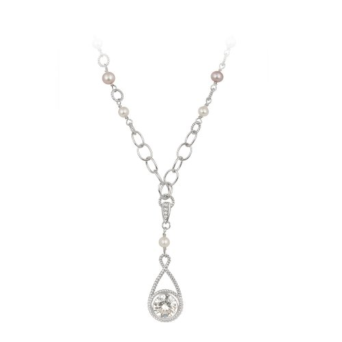 Sterling Silver Round Cubic Zirconia Drop Pendant Necklace with Open Link and Earth-Tone Colored Created Pearl Station Necklace, 16+3