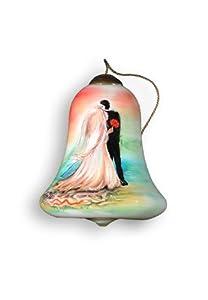 "3"" Ne'Qwa ""Wedding Couple"" Hand-Painted Blown Glass Christmas Ornament #532"