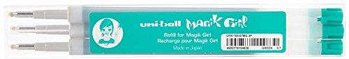 Uni-Ball Magik Girl UFR109/07 V Set de 3 Recharges Roller 0,7 mm Encre Thermosensible Vert