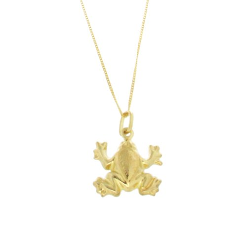9 Carat Yellow Gold Frog Pendant on 18 Inch Curb Chain