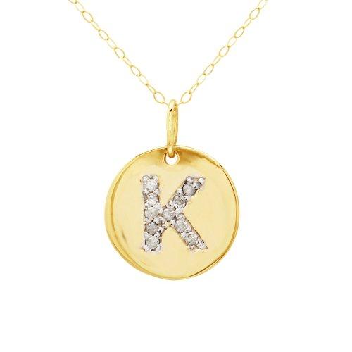 "Duragold 14k Gold Diamond Disc Initial ""K"" Pendant, 18"""