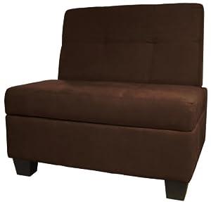 storage ottoman bench 24 inch suede chocolate brown