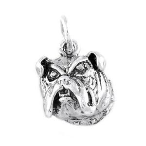 Silver Bulldog Head Charm- Sterling Silver