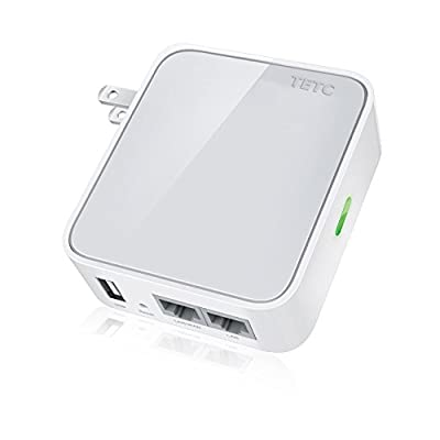 TROUTER 150Mbps Wireless N Mini Pocket Router, Repeater, Client, 2 LAN Ports, USB Port for Charging and Storage
