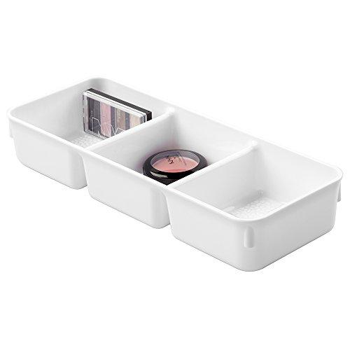 InterDesign 48951EU Rain Plateau Vanity à 3 Compartiments Plastique Blanc Petit