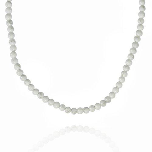 4mm Round Howlite Bead Necklace, 18+2