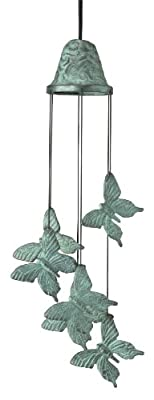 Wind Chime Six Butterflies Green Finish OGD212