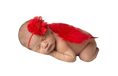 CX-Queen Baby Photography Prop Girl Red Hairband With Angel Wing Costume Outfit