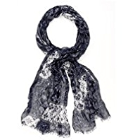 Indigo Collection Lightweight Patched Floral Print Scarf