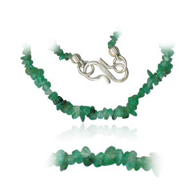 32.00 Cts Natural Emerald Tumbled Bead Necklace in Sterling Silver