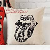 FunnyCraft Classic Rolling Stones Pillowcase Cushion Cover Red Lip Pattern Cotton Linen Chair Seat Waist Square Pillow Cover Home Textile Hot Cover