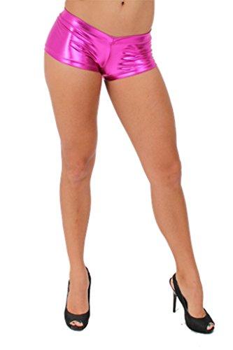 [Women's Metallic Shorts Liquid Wet Sexy Hot: HOT PINK (Small)] (Biker Babe Sexy Costumes)