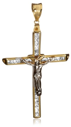9ct Two Colour Gold Cubic Zirconia Crucifix Pendant