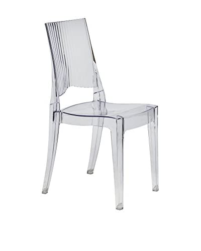 LeisureMod Delco Transparent Dining Modern Chair, Clear